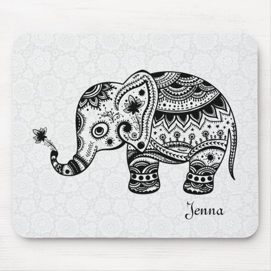 Cute Floral Elephant In Black Mouse Mat