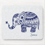 Cute Floral Elephant In Navy Blue
