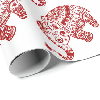 Cute Floral Elephant In White Burgundy Red Gift Wrap