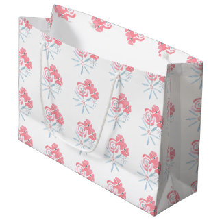 Cute floral gift bag in blue and pink