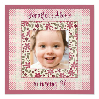 Cute floral girl's photo birthday party invitation