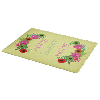 Cute Floral Home Sweet Home Picture Cutting Board