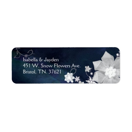 Cute Floral Indigo Wedding Return Address Return Address Label