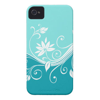 Cute Floral iPhone Barely There Cover Blue iPhone 4 Covers