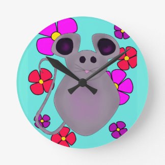 Cute floral mouse wall clock