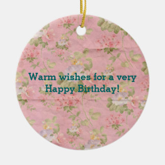Cute Floral Paper Pattern Happy Birthday Wishes Round Ceramic Decoration
