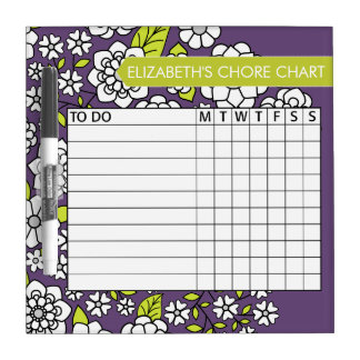 Cute Floral Pattern Chore Chart Dry Erase Board