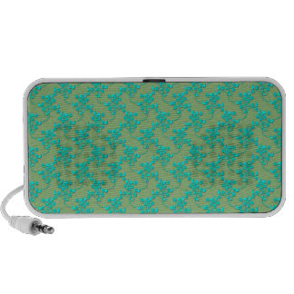 Cute Floral Pattern in Turquoise over Green Mp3 Speaker