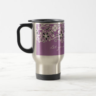 Cute floral pattern on purple travel mug