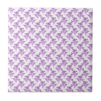 Cute Floral Pattern Purple over White Ceramic Tiles