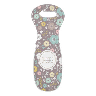 Cute Floral Pattern White Circle & Text Wine Bag