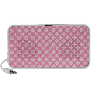 Cute Floral Pattern White over Pink Laptop Speakers