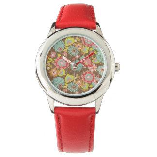 Cute floral pattern wrist watch
