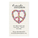 Cute Floral Peace Sign Profile / Calling Card Business Card Templates