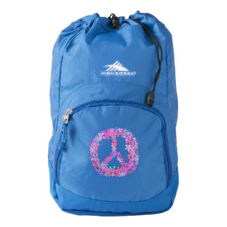 Cute floral peace symbol backpack