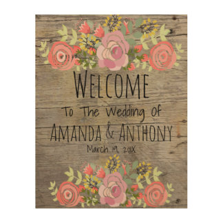 Cute Floral sign Wood Canvas