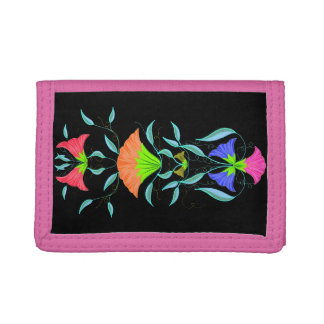 Cute floral, trifold wallets