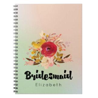 Cute Floral Watercolor Bouquet Bridesmaid Notebook