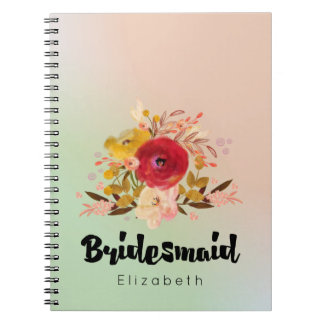 Cute Floral Watercolor Bouquet Bridesmaid Spiral Notebook