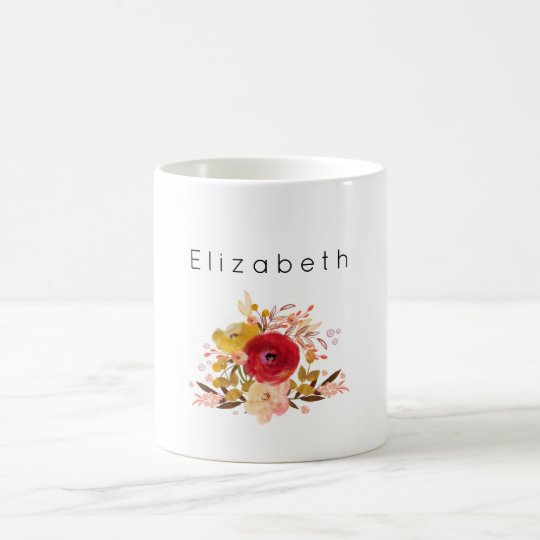Cute Floral Watercolor Bouquet Personalised Coffee Mug
