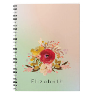 Cute Floral Watercolor Bouquet Personalized Spiral Notebook