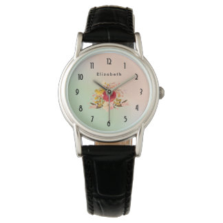 Cute Floral Watercolor Bouquet Personalized Wristwatches