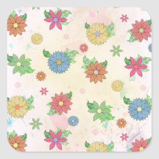 Cute floral watercolour pattern square sticker