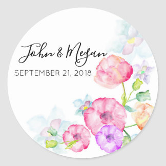 Cute Floral Wedding Classic Glossy Round Sticker