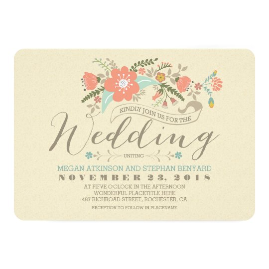 Cute floral wedding invitation