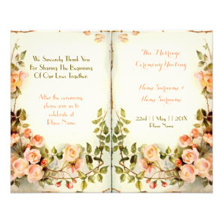 cute floral wedding program,roses 11.5 cm x 14 cm flyer