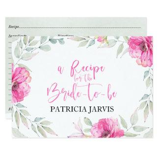 Cute Floral Wreath Watercolor Bridal Shower Recipe Card
