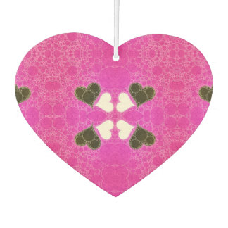 Cute Florescent Pink Heart Abstract Car Air Freshener