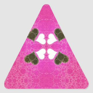 Cute Florescent Pink Heart Abstract Triangle Sticker