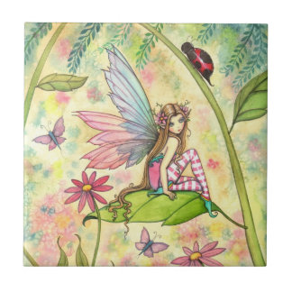 Cute Flower Fairy and Ladybug Fantasy Art Small Square Tile