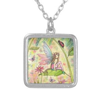 Cute Flower Fairy and Ladybug Fantasy Art Square Pendant Necklace