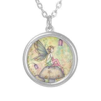 Cute Flower Fairy Fantasy Art Round Pendant Necklace