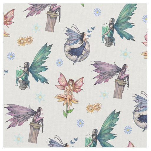 Cute Flower Fairy Fantasy Art Pattern Fabric