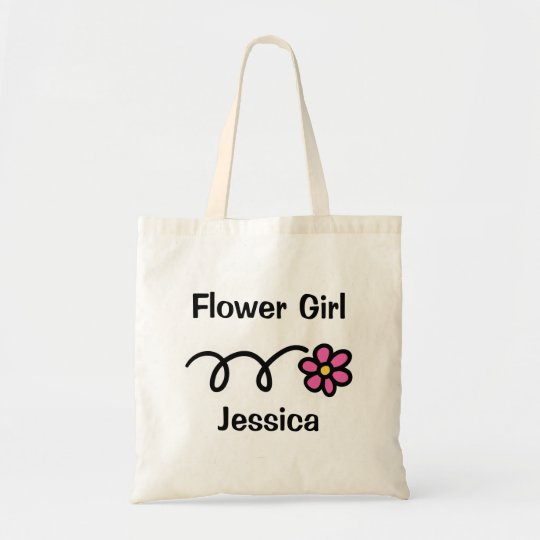 Cute flower girl tote bag with personalised name