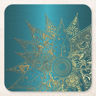 Cute flower henna hand drawn design square paper coaster