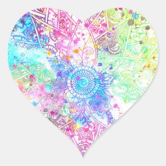 Cute flower henna hand drawn design watercolors heart sticker