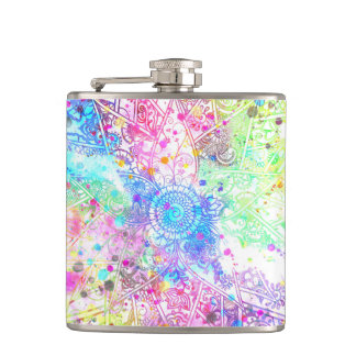 Cute flower henna hand drawn design watercolors hip flask