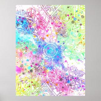 Cute flower henna hand drawn design watercolors poster