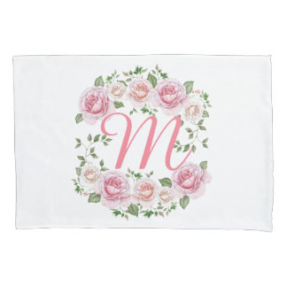 Cute Flower Monogram Frame Pillowcase