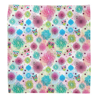 Cute flower owl background pattern bandana