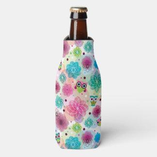 Cute flower owl background pattern bottle cooler