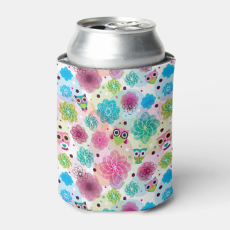 Cute flower owl background pattern can cooler