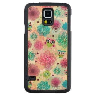 Cute flower owl background pattern carved maple galaxy s5 case