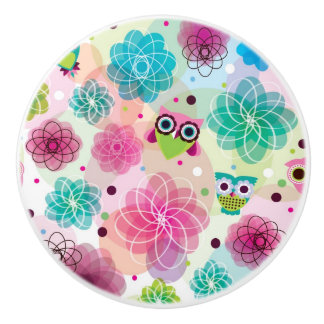 Cute flower owl background pattern ceramic knob