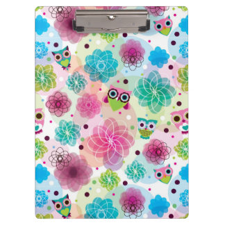 Cute flower owl background pattern clipboard