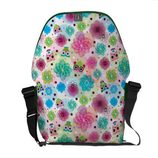 Cute flower owl background pattern courier bag
